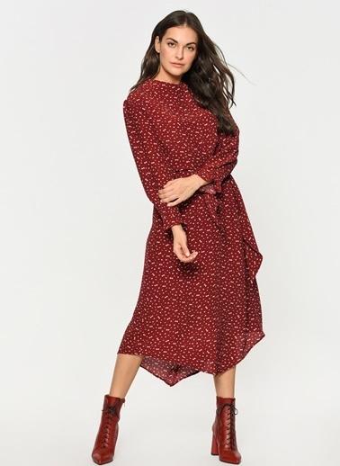 Loves You Yandan Bağlamalı Çıtır Desen Crep Elbise Kırmızı